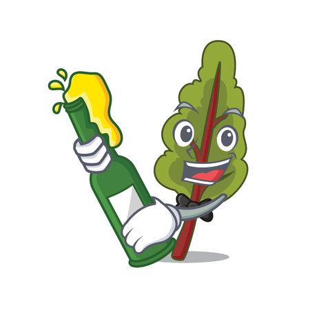 Met bier snijbiet mascotte cartoon stijl vectorillustratie