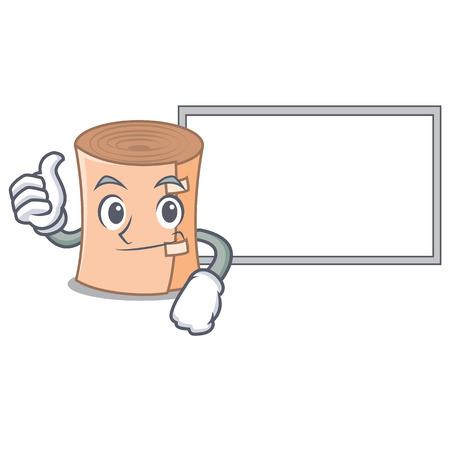 Thumbs up with board medical gauze character cartoon vector illustration
