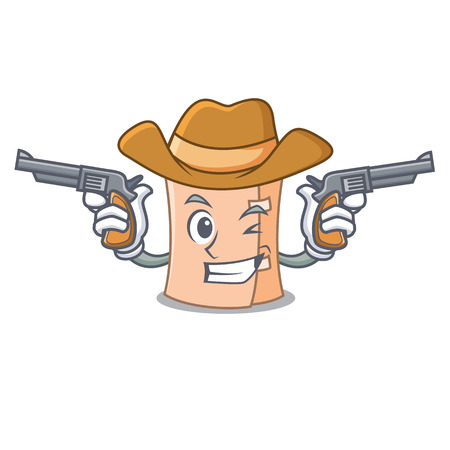 Cowboy medical gauze character cartoon vector illustration