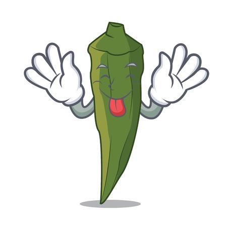 Tongue out okra mascot cartoon style vector illustration