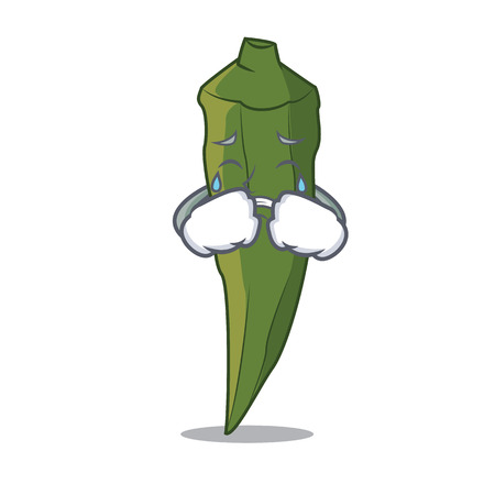 Crying okra mascot cartoon style vector illustration Illustration