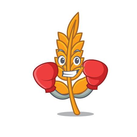 Boxing wheat caharacter cartoon style vector illustration Ilustração