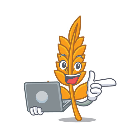 With laptop wheat caharacter cartoon style vector illustration