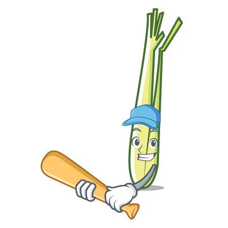Playing baseball lemongrass character cartoon style vector illustration.