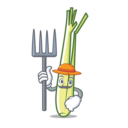 Farmer lemongrass character cartoon style vector illustration.