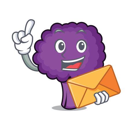 With envelope purple broccoli character cartoon vector illustration Illustration