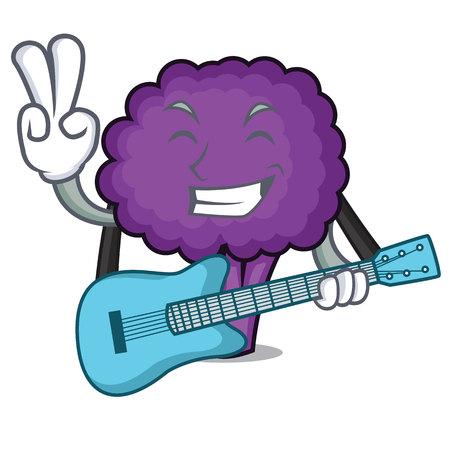 With guitar purple broccoli mascot cartoon vector illustration Stock Illustratie