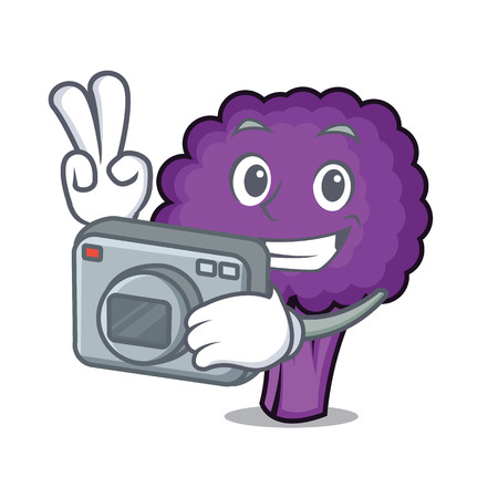 Photographer purple broccoli mascot cartoon vector illustration