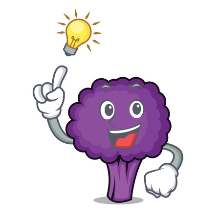 Have an idea purple broccoli mascot cartoon vector illustration