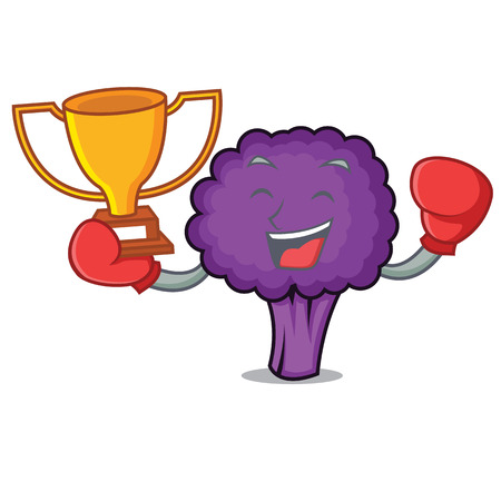 Boxing winner purple broccoli mascot cartoon vector illustration Illustration