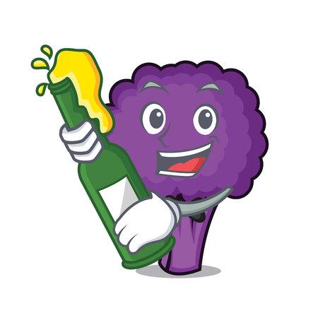 With beer purple broccoli mascot cartoon vector illustration