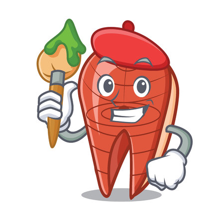 Artist fish slice character cartoon vector illustration Ilustração