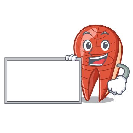 With board fish slice character cartoon vector illustration