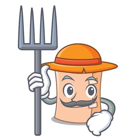 Farmer medical gauze character cartoon vector illustration