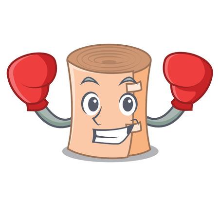 Boxing medical gauze character cartoon vector illustration.