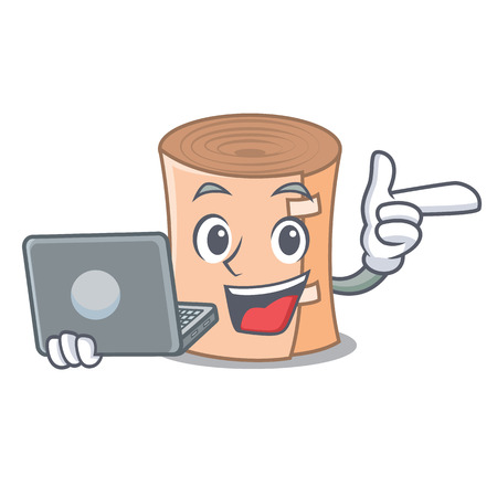 With laptop medical gauze character cartoon vector illustration.