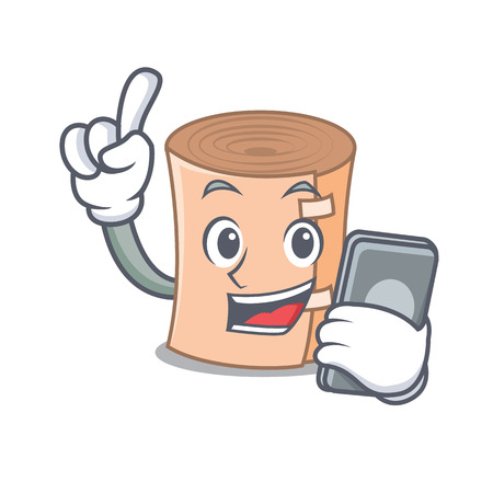 With phone medical gauze character cartoon vector illustration.
