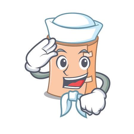 Sailor medical gauze character cartoon vector illustration.