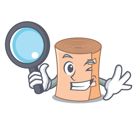 Detective medical gauze character cartoon Vector illustration. Illustration