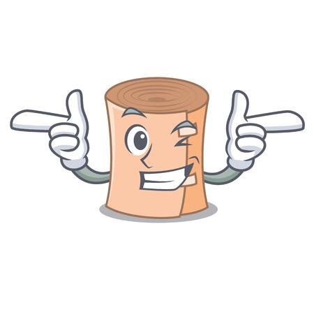 Wink medical gauze character cartoon vector illustration.