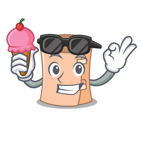 With ice cream cool medical gauze character cartoon vector illustration.
