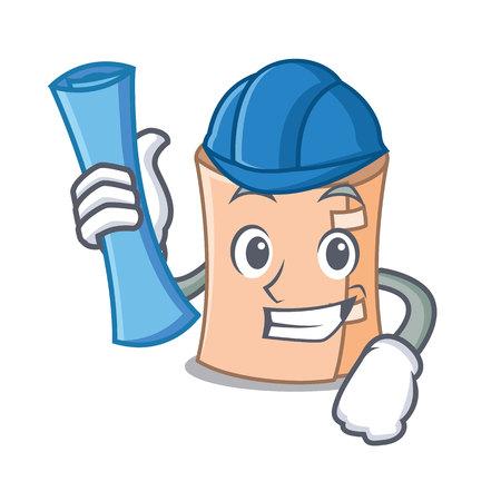 Architect medical gauze character cartoon vector illustration Illustration