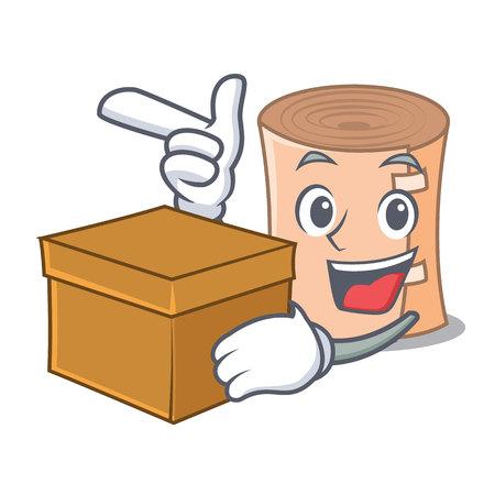 With box medical gauze character cartoon vector illustration.