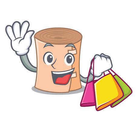 Shopping medical gauze character cartoon vector illustration