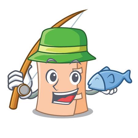 Fishing medical gauze mascot cartoon vector illustration Illustration
