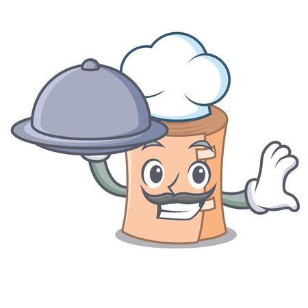Chef with food medical gauze mascot cartoon vector illustration Illustration
