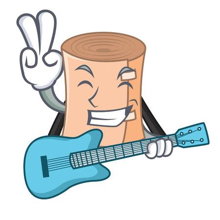 Guitar medical gauze mascot illustration