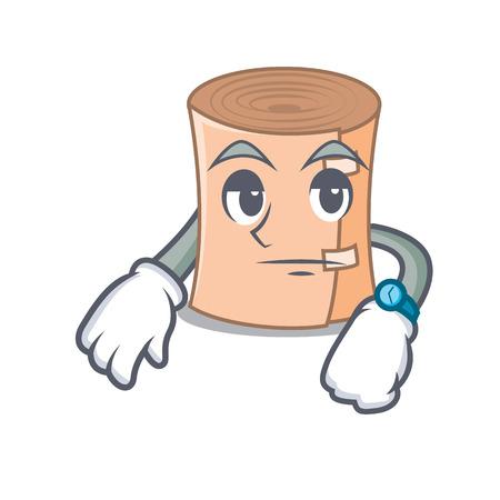 Waiting medical gauze mascot cartoon vector illustration