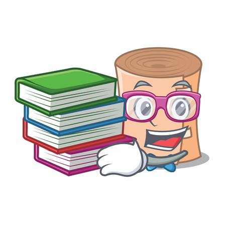 Student with book medical gauze mascot cartoon illustration
