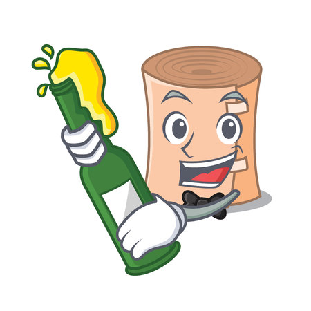 Medical gauze mascot with beer cartoon  illustration