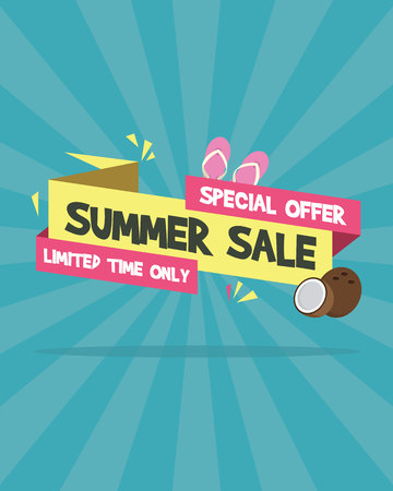 Summer sale banner on the beach vector illustration Standard-Bild - 99611508