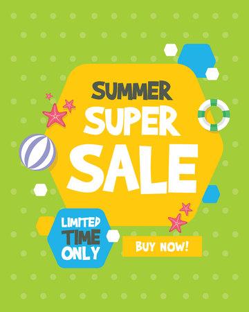 Summer sale banner birthday party vector illustration