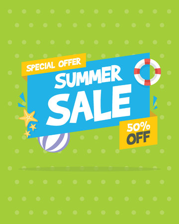 summer sale banner birthday party vector illustration royalty free