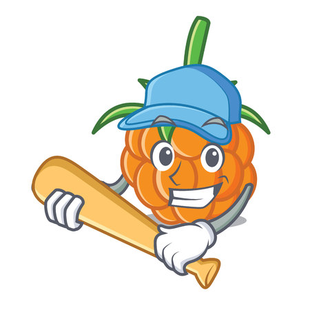Playing baseball cloudberry character cartoon style vector illustration