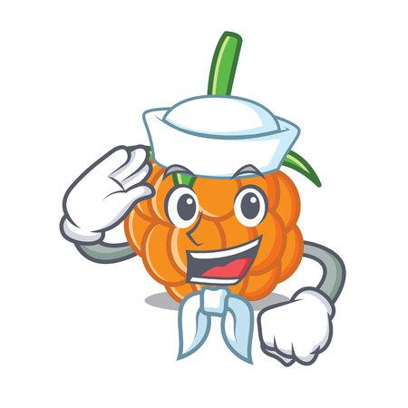 Sailor cloudberry character cartoon style vector illustration