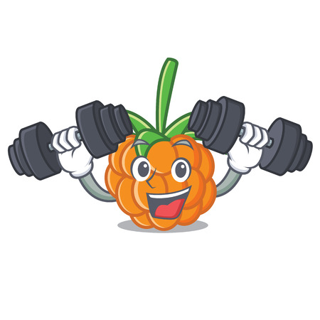 Fitness cloudberry character cartoon style vector illustration