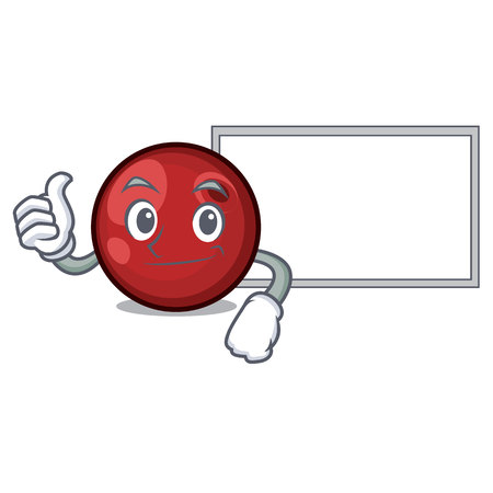 Thumbs up with board cranberry character cartoon style vector illustration