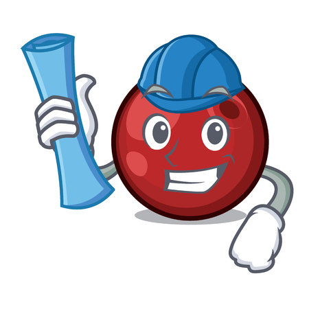 Architect cranberry character cartoon style vector illustration Ilustração