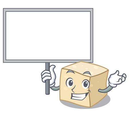 Bring board tofu character cartoon style vector illustration