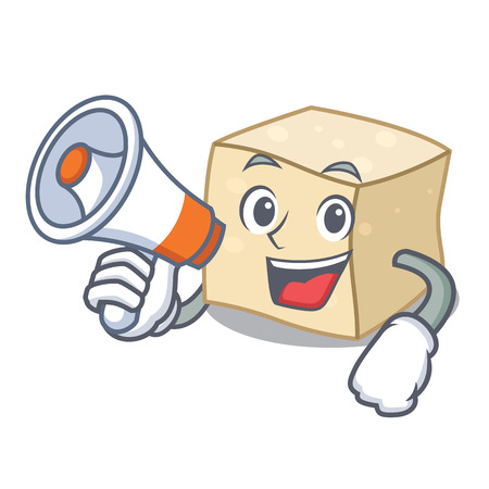 With megaphone tofu character cartoon style vector illustration Иллюстрация