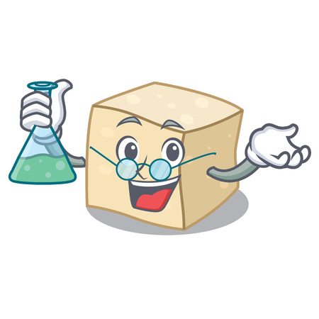 Professor tofu character cartoon style vector illustration