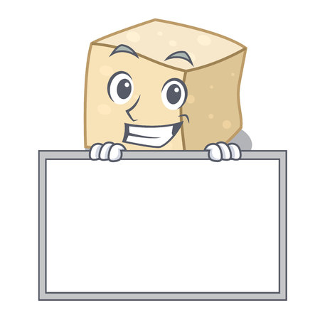 Grinning with board tofu character cartoon style vector illustration 일러스트