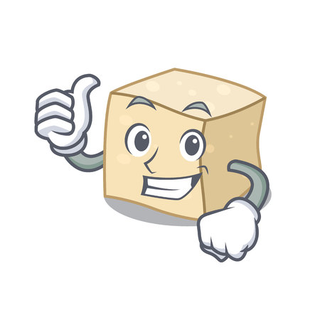 Thumbs up tofu character cartoon style vector illustration