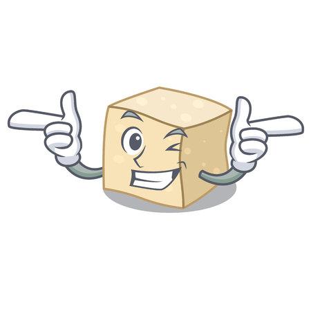 Wink tofu character cartoon style vector illustration