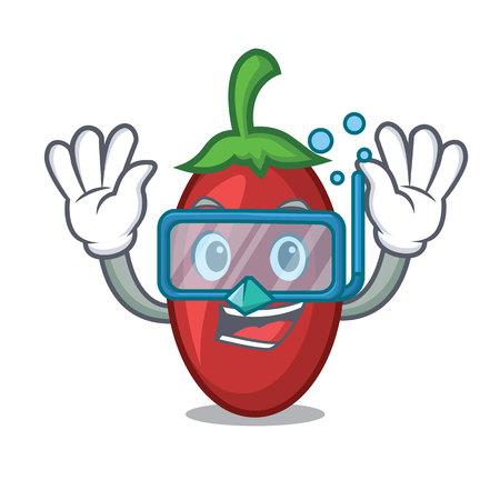 Diving goji berries character cartoon vector illustration