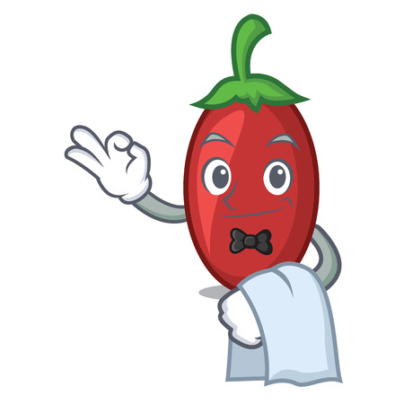 Waiter goji berries mascot cartoon vector illustration Illustration